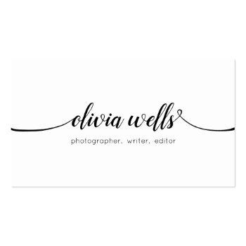 Small Simple White  Handwritten Script Calligraphy Business Card Front View