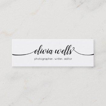 simple white  handwritten script calligraphy mini business card