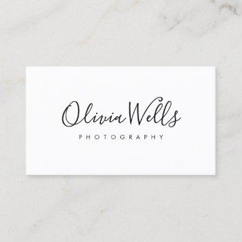 simple white handwritten script social media icons business card