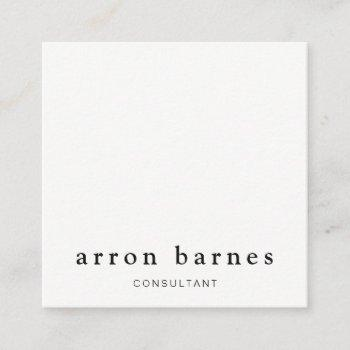 simple white modern professional minimalist square business card