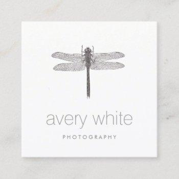 simple white nature professional photography square business card