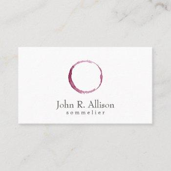 simple wine stain sommelier bartender business card