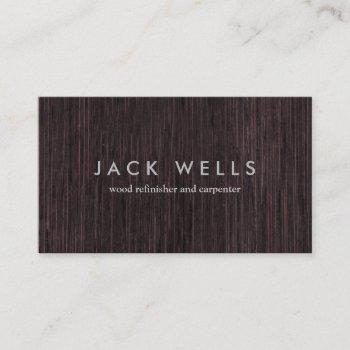 simple wood grain rustic carpenter carpentry business card