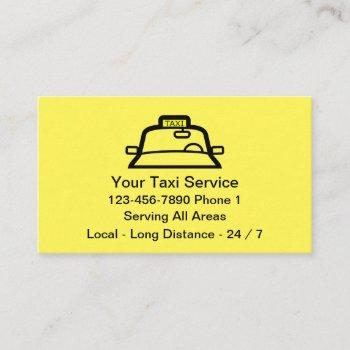 simple yellow taxi service business card