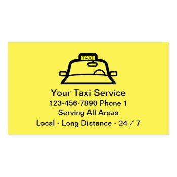 Small Simple Yellow Taxi Service Business Card Front View