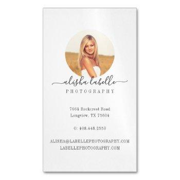 simplistic, minimal circle photo frame business card magnet