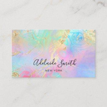 •simulated glitter details faux holographic effect business card
