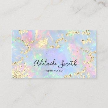 simulated glitter on faux iridescent opal business card