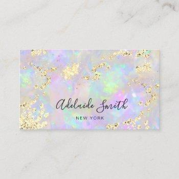 simulated glitter on faux iridescent opal texture business card