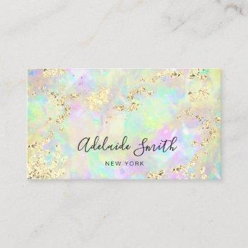 simulated glitter on opal texture business card