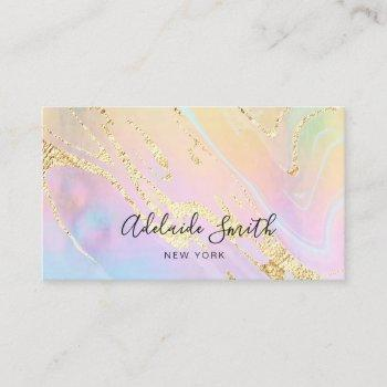 simulated gold glitter on faux holographic effect business card