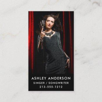 singer musician full photo promo business card