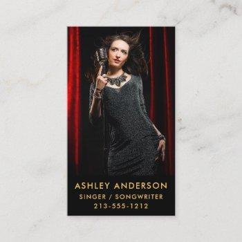 singer musician full photo promo gold business card