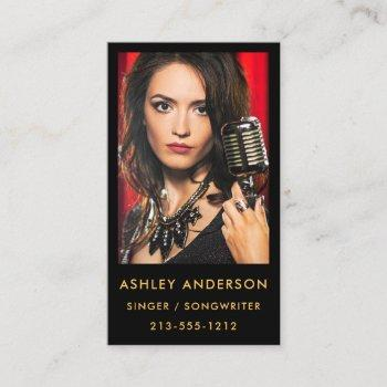 singer musician promo photo business card gold