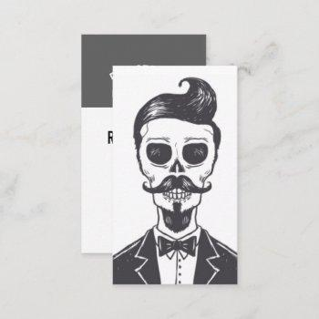 skeleton gentleman barber business card