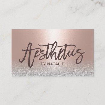 skincare esthetician blush rose gold aesthetics business card