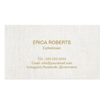 Small Skincare Salon Spa Esthetician Elegant Gold Script Business Card Back View