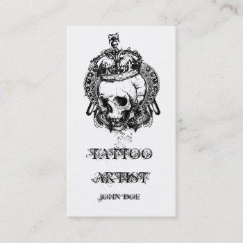 skull with crown tattoo artist business card