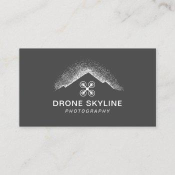 skyline aerial video & photography modern gray business card