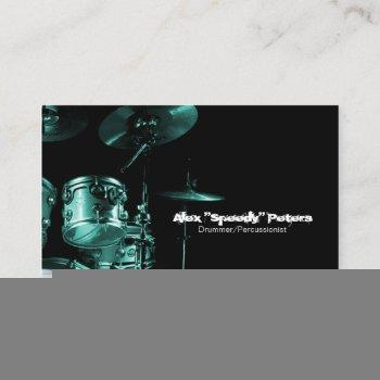 snare and tom turquoise drummer business card