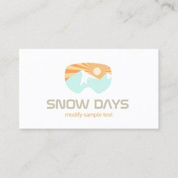 snow goggles skiing mountain business card