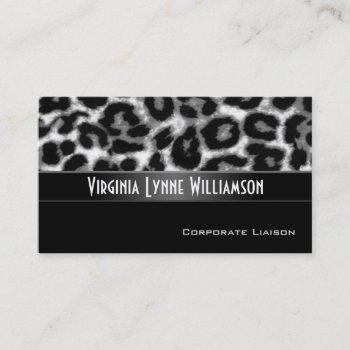 snow leopard modern professional business card