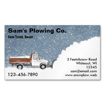 snow plow | plowing service | snow removal magnetic business card
