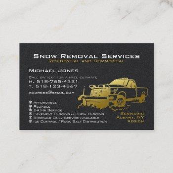 snow plowing removal black & gold simple modern business card