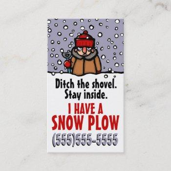 snow removal. plow. funny custom template business card