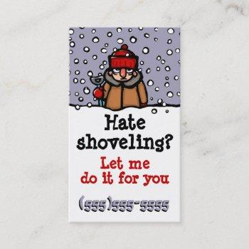 snow shoveling custom business card