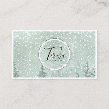 snowy winter trees green id562 business card