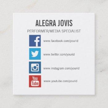 social media icons symbols square business card