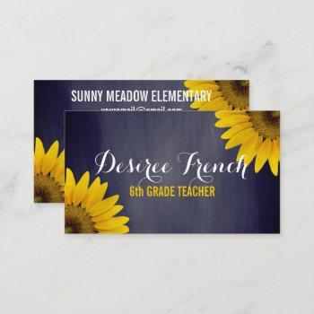 social media | sunflowers chalkboard teacher business card