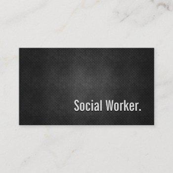 social worker cool black metal simplicity business card