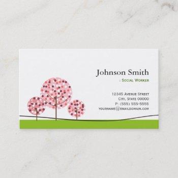 social worker - cute pink wishing tree logo business card