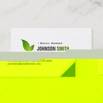 social worker - elegant modern green business card