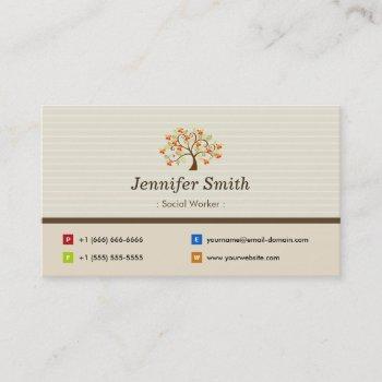 social worker - elegant tree symbol business card