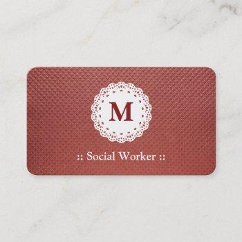 social worker lace monogram maroon business card