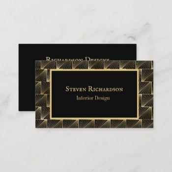 sophisticated art deco black and gold pattern business card