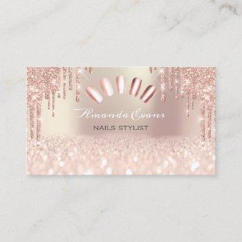 spark glitter rose spark nails artist drips appointment card