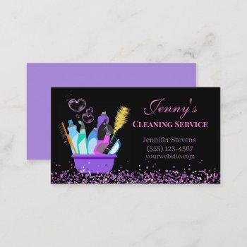 sparkle cleaning supplies cleaning service business card