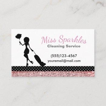 sparkle polka dot maid house cleaning services business card