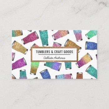 sparkly modern glitter tumbler crafter business card