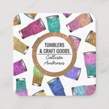 sparkly modern glitter tumbler crafter square business card