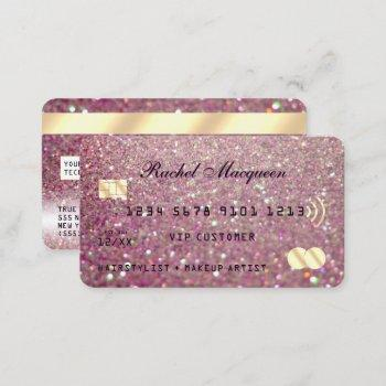 sparkly rose pink gold glitter credit business card