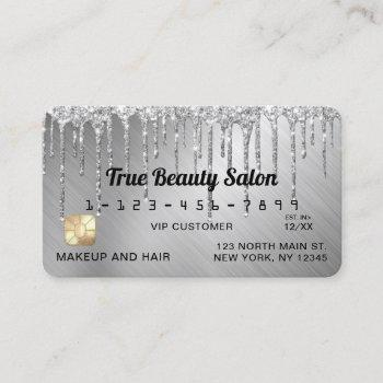 sparkly silver metallic glitter drips credit business card
