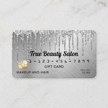sparkly silver metallic glitter drips gift credit business card