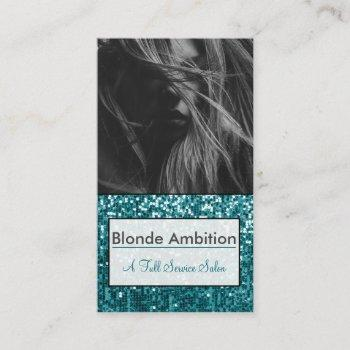 sparkly teal|glitter photo stylist|make up artist business card