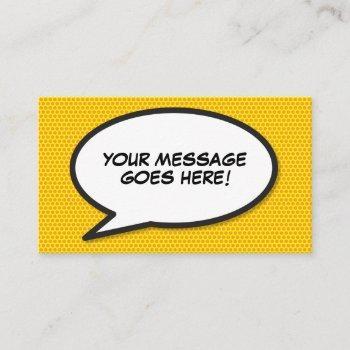 speech bubble message fun retro comic book business card