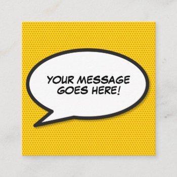 speech bubble message fun retro comic book square business card